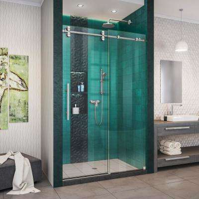 Enigma-XO 44-48 in. W x 76 in. H Fully Frameless Sliding Shower Door in Brushed Stainless Steel