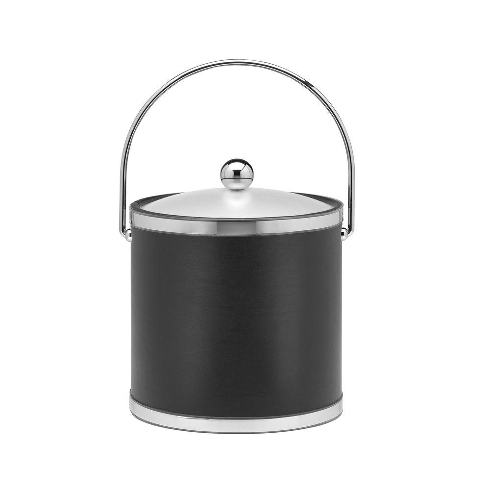 Kraftware Sophisticates 3 Qt. Black w/Polished Chrome Ice Bucket with Bale Handle, Acrylic Cover