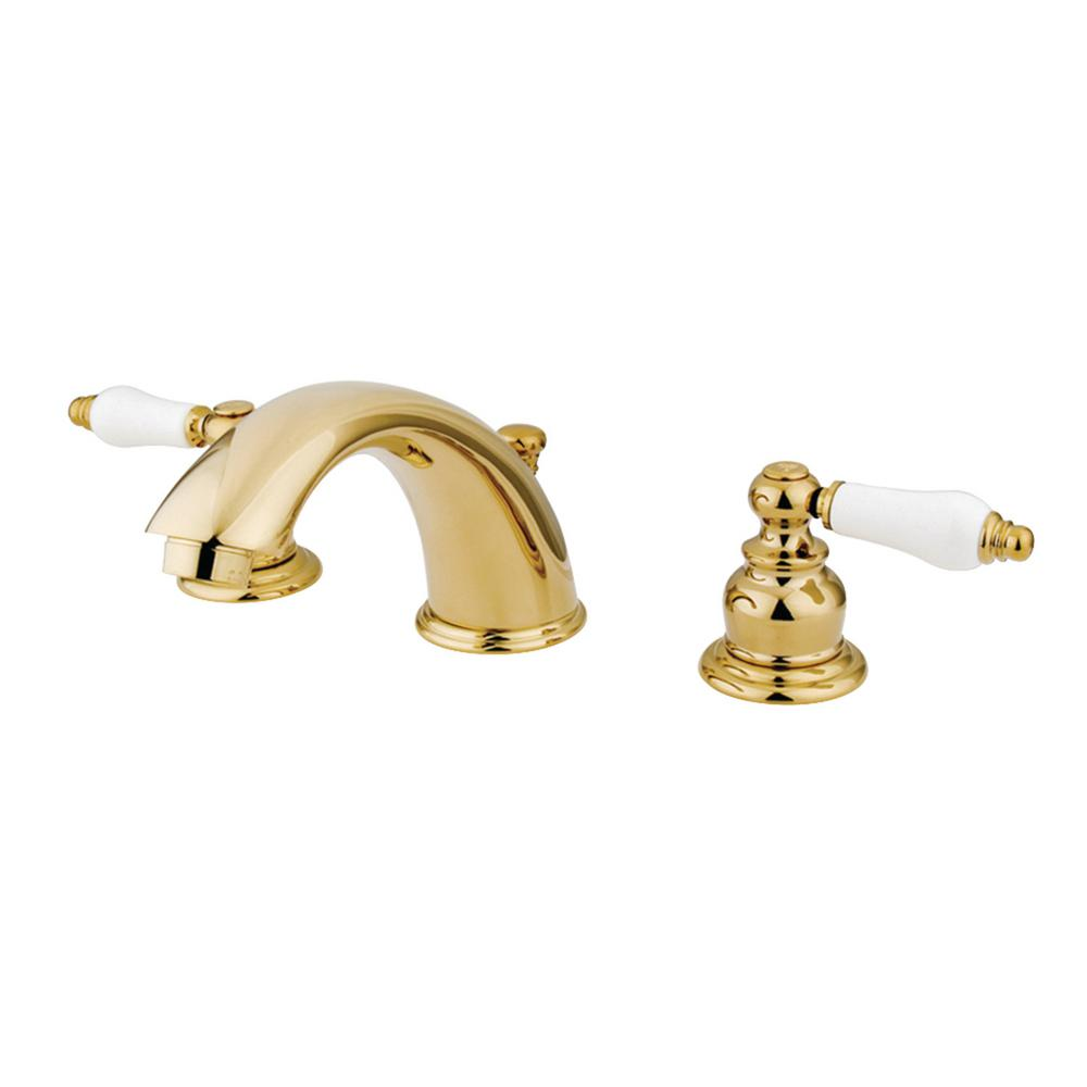 Kingston Brass Victorian 8 In. Widespread 2-Handle Bathroom Faucet In Polished Brass-HKB972B