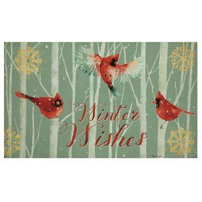 Elegant Entry Holiday Cardinal Wishes 18 in. x 30 in. Holiday Door Mat