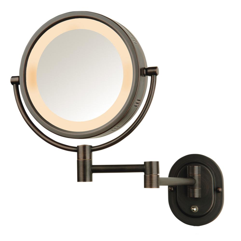 Zadro 9 in w x 12 in h swivel wall mount mirror in satin nickel h lighted wall mirror in amipublicfo Choice Image
