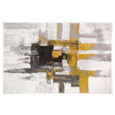 Contemporary Modern Abstract Rug 2' x 3' Gold