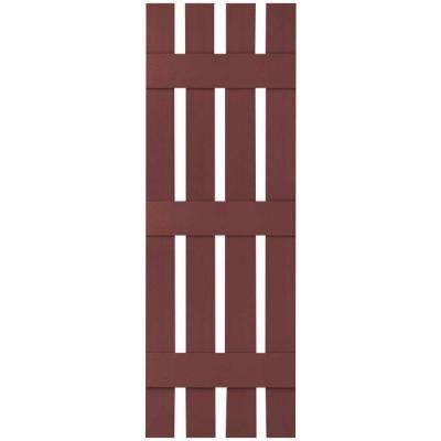 16-1/4 in. x 56 in. Lifetime Vinyl Custom Four Board Spaced Board and Batten Shutters Pair Wineberry