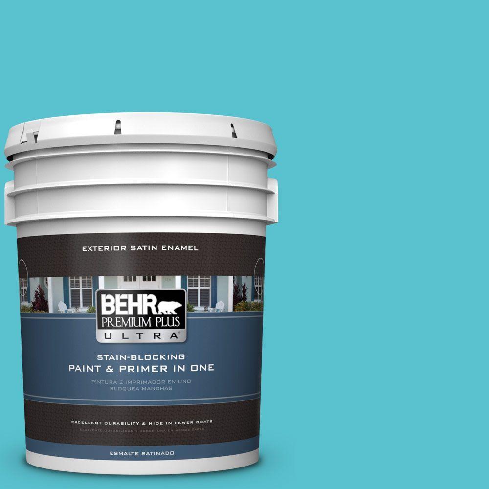 BEHR Premium Plus Ultra 5-gal. #510B-5 Jamaican Sea Satin Enamel Exterior Paint