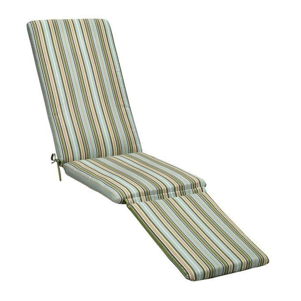Sunbrella Cilantro Stripe Outdoor Chaise Lounge Cushion