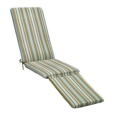 19 x 74 Outdoor Chaise Lounge Cushion in Sunbrella Cilantro Stripe