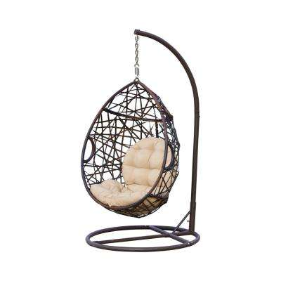 Stefanie Brown Wicker Patio Swing with Beige Cushion