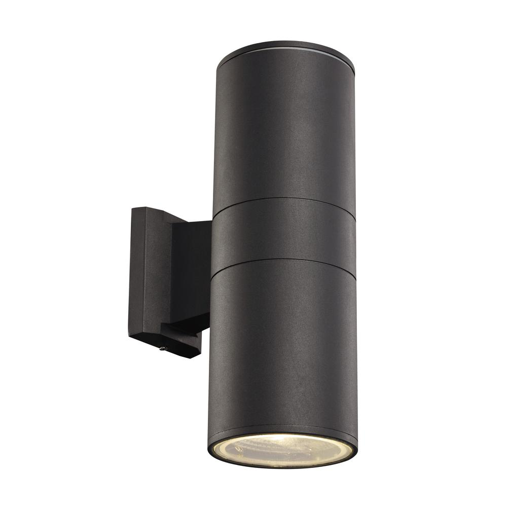 bel air lighting 2 light black outdoor integrated led wall mount cylinder led 40960 bk the. Black Bedroom Furniture Sets. Home Design Ideas