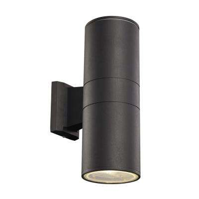 2-Light Black Outdoor Integrated LED Wall Mount Cylinder