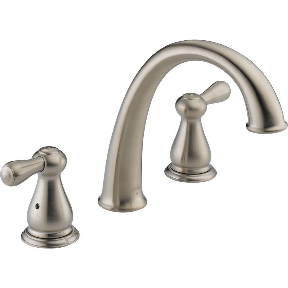 Delta Leland 2 Handle Deck Mount Roman Tub Faucet Trim Kit Only In Stainless Valve Not Included