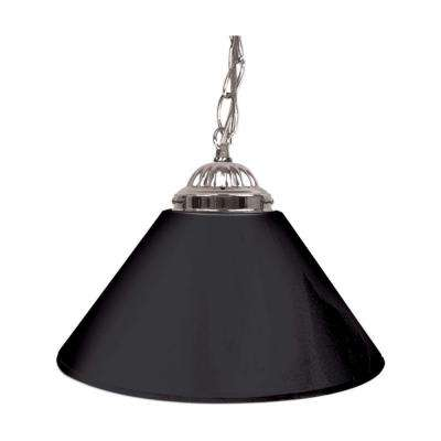 14 in. Single Shade Black and Silver Hanging Lamp