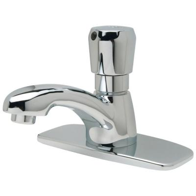 Single Basin Metering Faucet with 4 in. Cover Plate