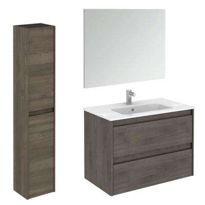 Ambra 31.6 in. W x 18.1 in. D x 22.3 in. H Bathroom Vanity Unit in Samara Ash with Mirror and Column
