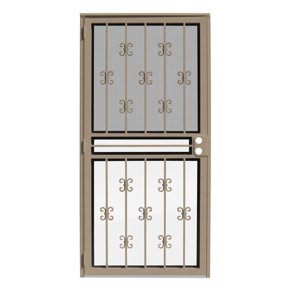 Unique Home Designs 36 In X 80 In Moorish Lace Tan Recessed Mount All Season Security Door