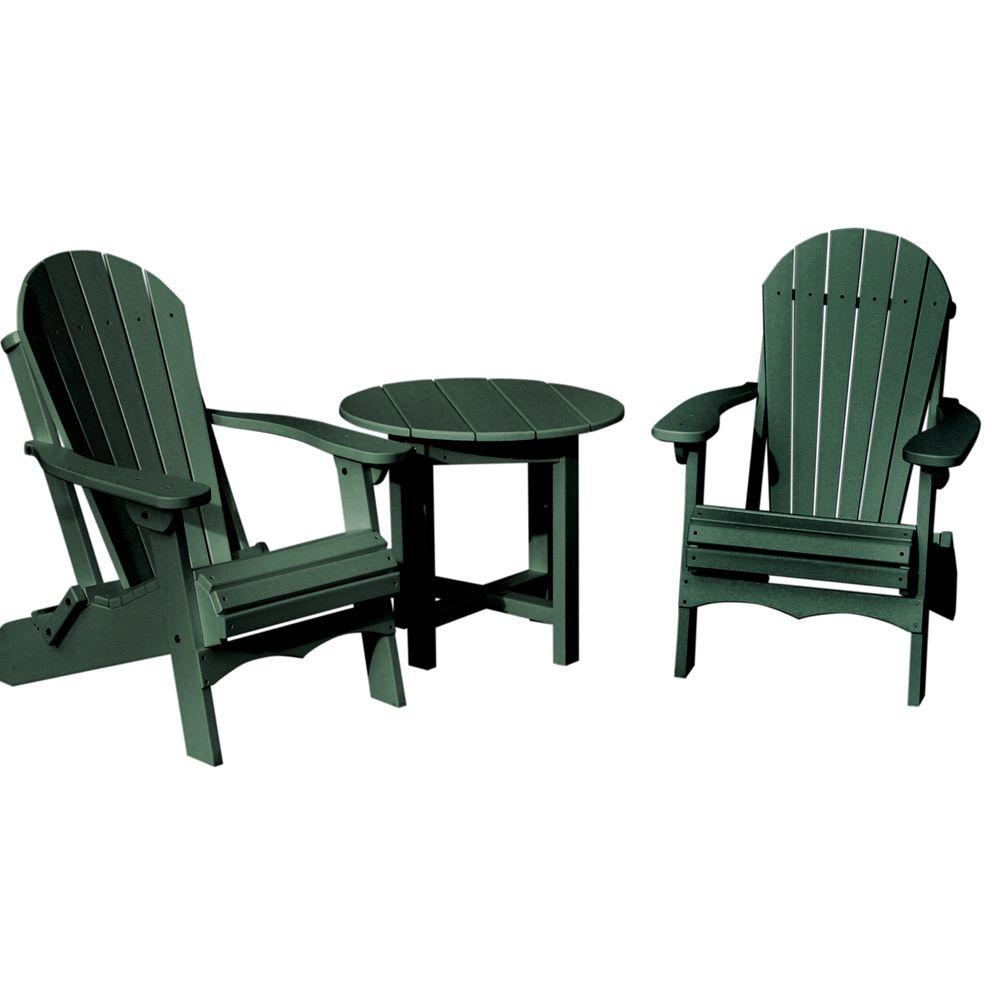 Vifah Roch Recycled Plastics 3-Piece Patio Conversation Set in Green-DISCONTINUED
