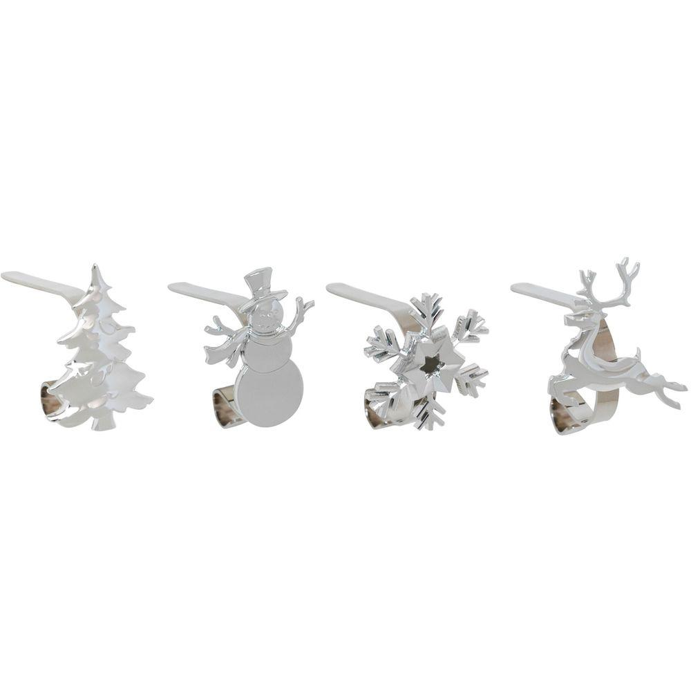 Original MantleClip Silver, Adjustable Metal Christmas Stocking Holder with Assorted Clip-On Icons (4-Pack)
