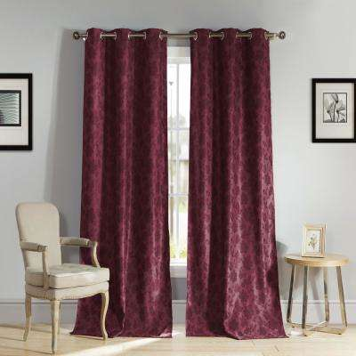 Aeryn 84 in. L x 54 in. W Polyester Blackout Curtain Panel in Wine (2-Pack)