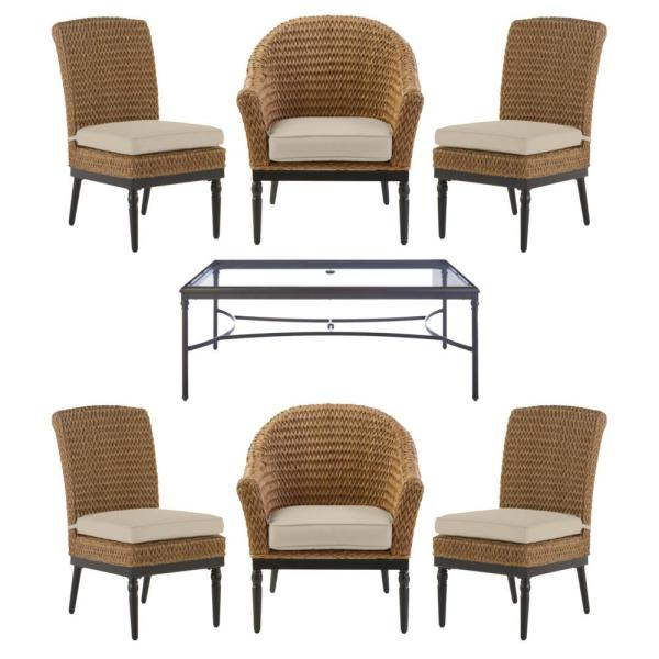 Camden 7-Piece Seagrass Light Brown Wicker Outdoor Patio Dining Set with CushionGuard Putty Tan Cushions