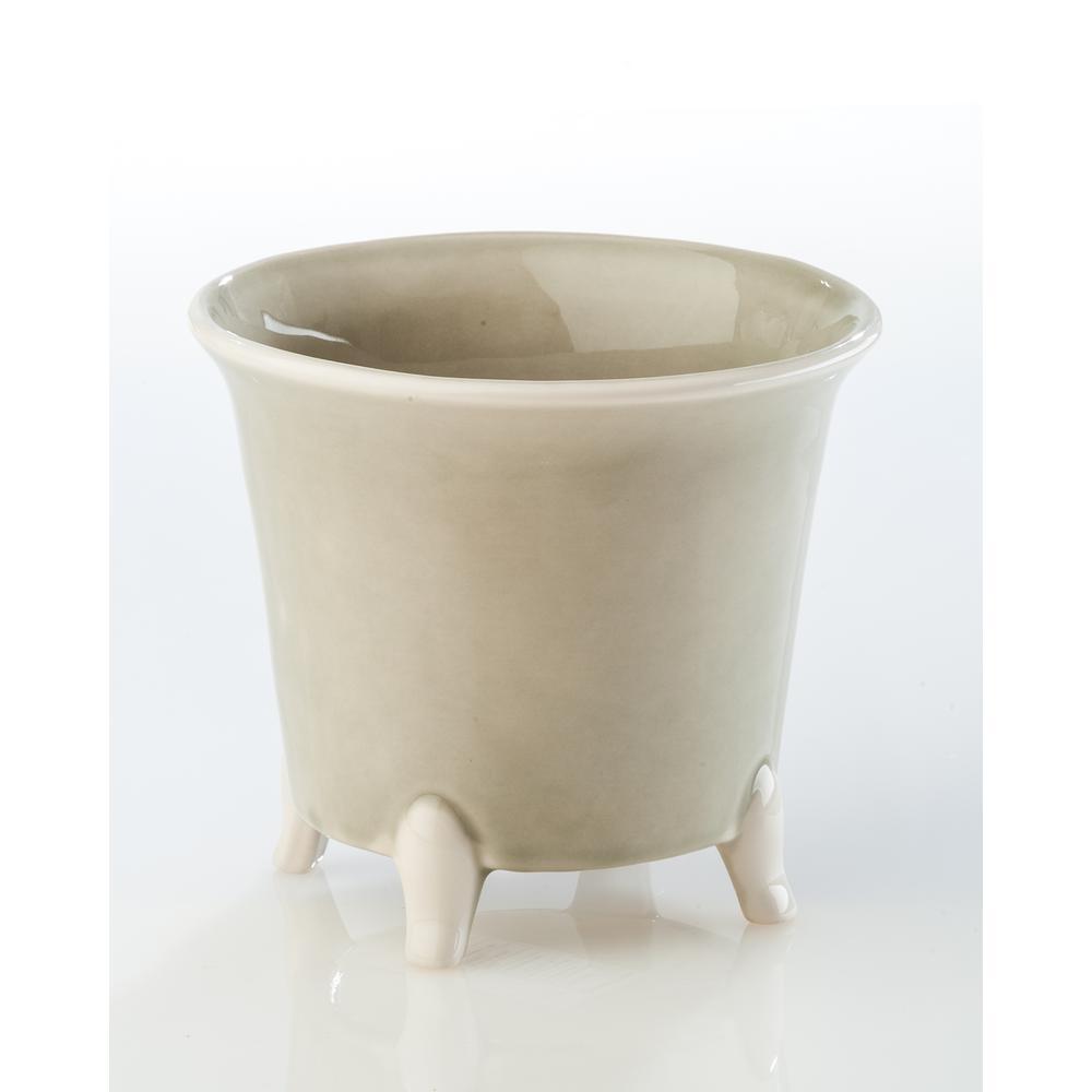 Gray Ceramic Decorative Cachepot