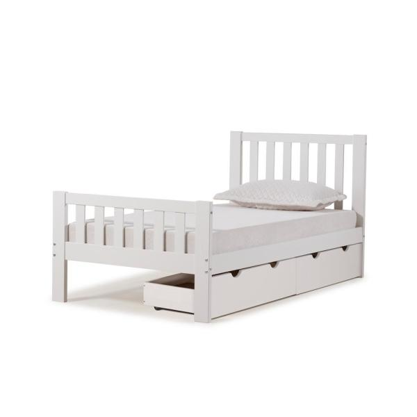 Twin Bed With Storage.Aurora White Twin Bed With Storage Drawers