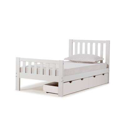 Aurora White Twin Bed with Storage Drawers
