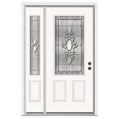 52 in. x 80 in. 3/4 Lite Langford Primed Steel Prehung Left-Hand Inswing Front Door with Left-Hand Sidelite