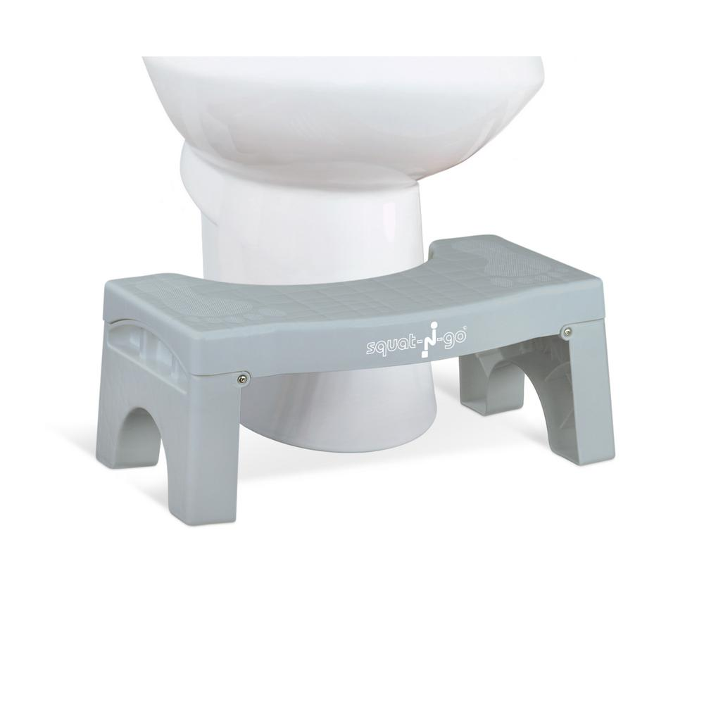 7 in. Foldable Squatting Toilet Stool in Gray