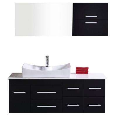 Springfield 54 in. W x 20 in. D Vanity in Espresso with Composite Stone Vanity Top and Mirror in White