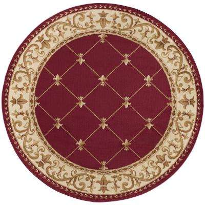 Sensation Red 8 ft. x 8 ft. Round Traditional Area Rug