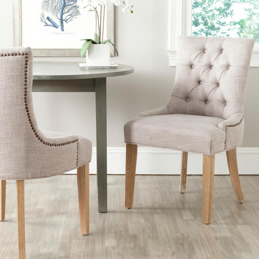 SAFAVIEH Safavieh Abby Gray/White Wash Polyester Blend Side Chair (Set of 2)