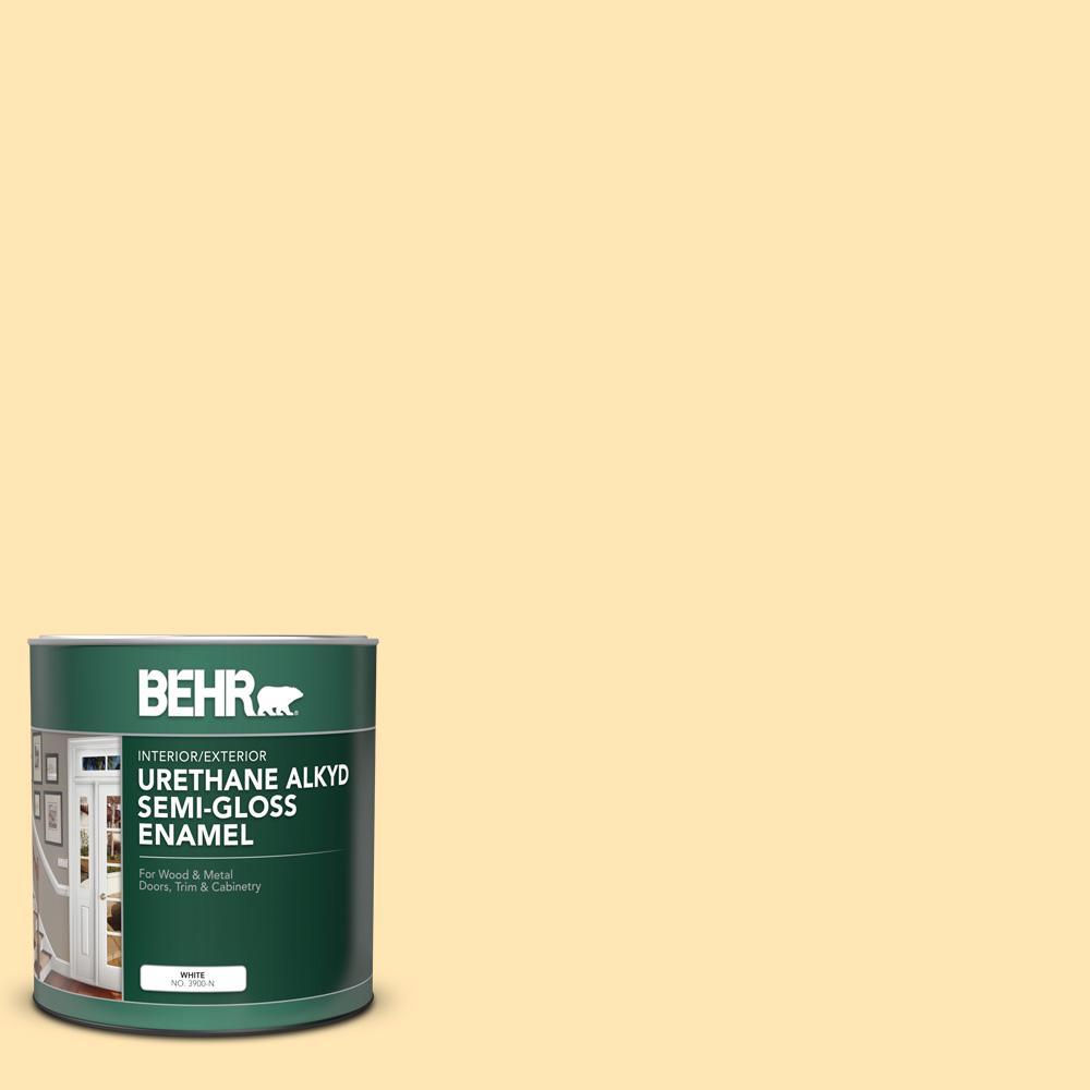 Behr 1 Qt P260 3 Vanilla Ice Cream Semi Gloss Enamel Urethane Alkyd Interior Exterior Paint 390004 The Home Depot