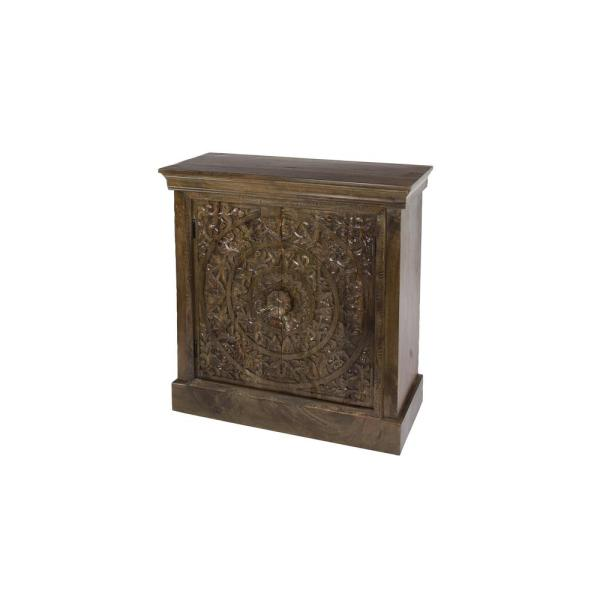 Litton Lane Natural Brown Wood Square Cabinet with Carved Rosette Pattern