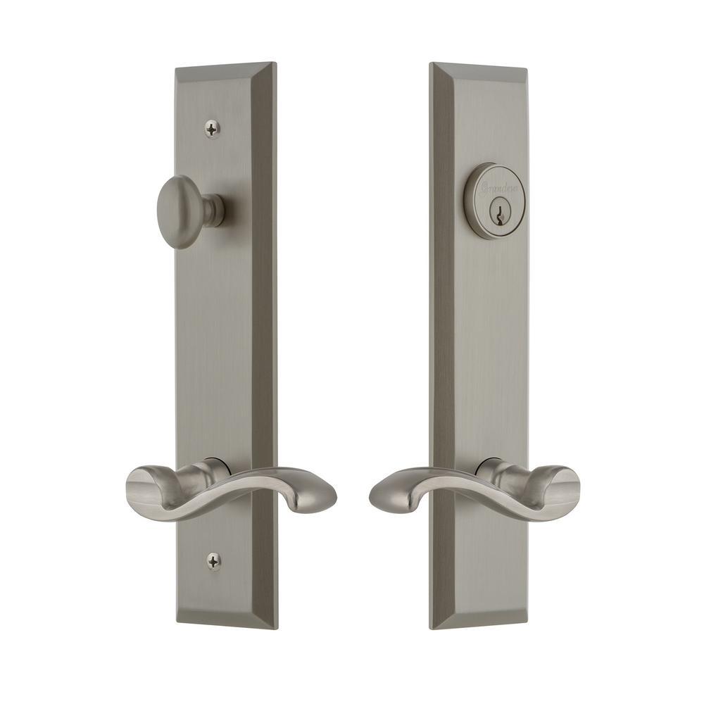 Fifth Avenue Tall Plate 2-3/8 in. Backset Satin Nickel Door Handleset with Portofino Door Lever