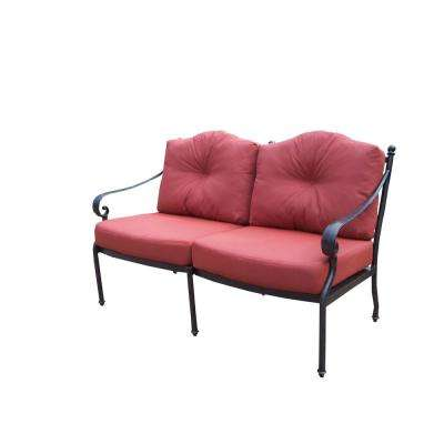 Berkley Aluminum Outdoor Loveseat with Red Cushions