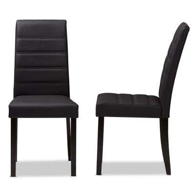 Lorelle Dark Brown Faux Leather Dining Chair (Set Of 2)