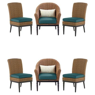 Camden Dark Brown 7-Piece Wicker Outdoor Patio Dining Set with CushionGuard Charleston Blue-Green Cushions
