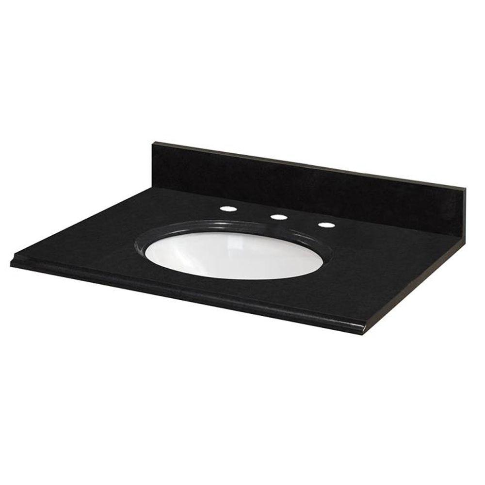 Pegasus 31 in. W Granite Vanity Top in Midnight Black with White Bowl and 8 in. Faucet Spread