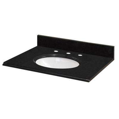 31 in. W Granite Vanity Top in Midnight Black with White Bowl and 8 in. Faucet Spread