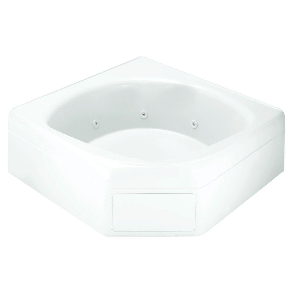 STERLING Ensemble 5 ft. Fiberglass Neo-Angle Straight Corner Drop-in Whirlpool Bathtub in White