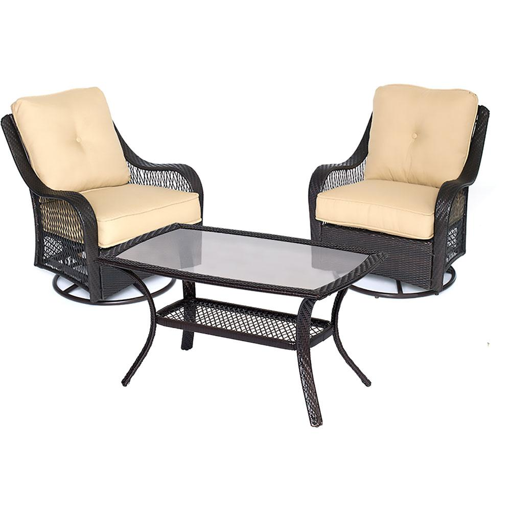 Orleans 3-Piece Wicker Patio Conversation Set with Sahara Sand Cushions