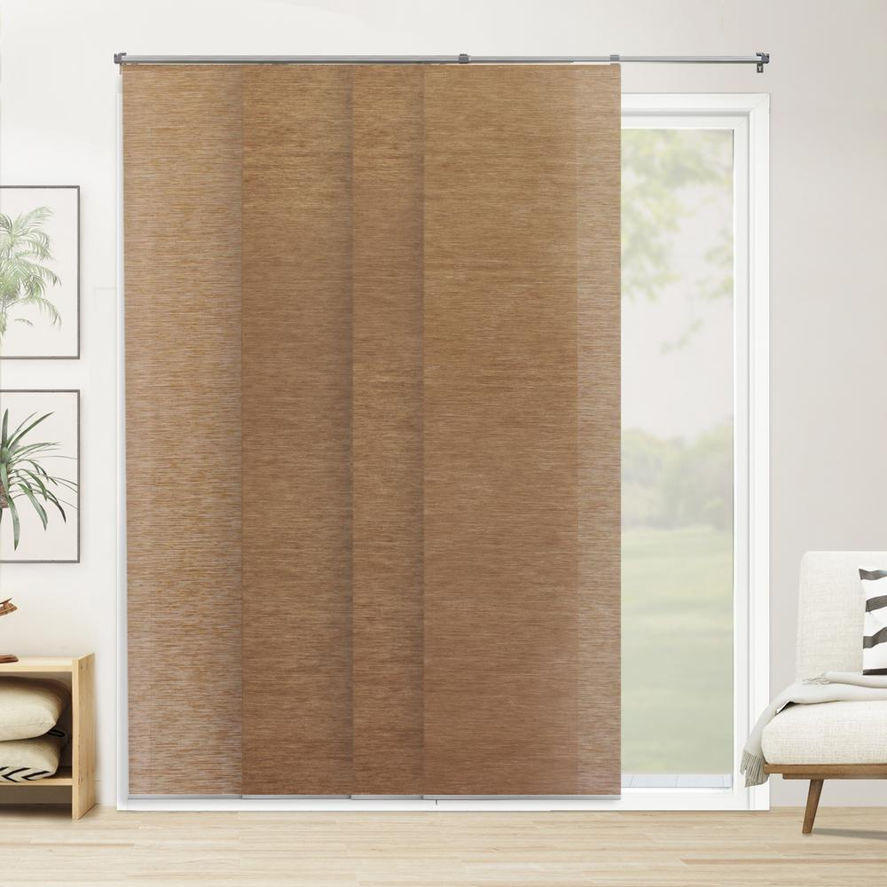 Cut-to-Width Panel Track Blind Carlisle Mahogany Cordless 22 in. Vertical Blind