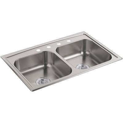 Toccata Drop-in Stainless Steel 33 in. 4-Hole Double Bowl Kitchen Sink