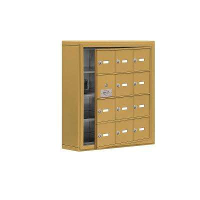 19100 Series 24 in. W x 25.5 in. H x 6.25 in. D 11 Doors Cell Phone Locker Surface Mount Keyed Lock in Gold