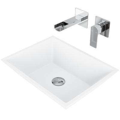 Vinca Matte Stone Vessel Bathroom Sink Set with Atticus Wall Mount Faucet in Chrome