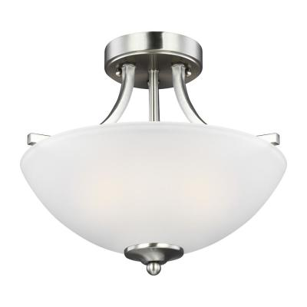 Geary 2-Light Brushed Nickel Semi-Flush Mount Convertible Pendant