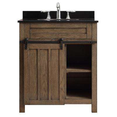 Oakland 30 in. W x  22 in. D Vanity in Classic Nutmeg  with Granite Vanity Top in Black with White Basin