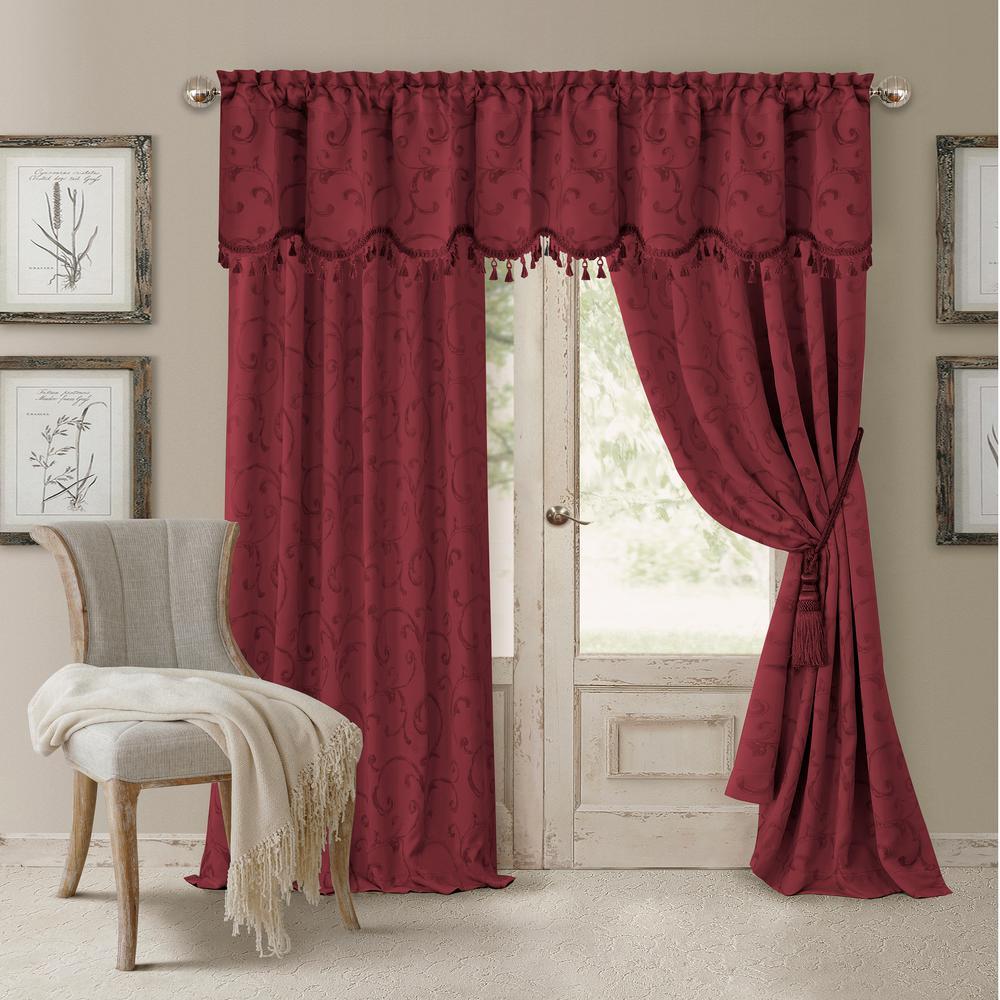 Blackout Rouge Blackout Energy Efficient Room Darkening Rod Pocket Window Curtain Drape - 52 in. W x 95 in. L