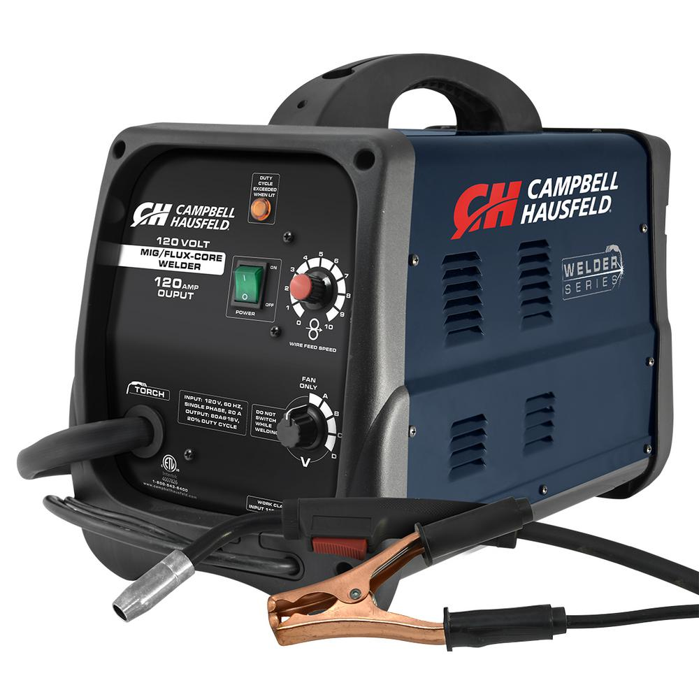 Campbell Hausfeld MIG/Flux Core Welder 120 Amp Output Wire Feed with Accessories