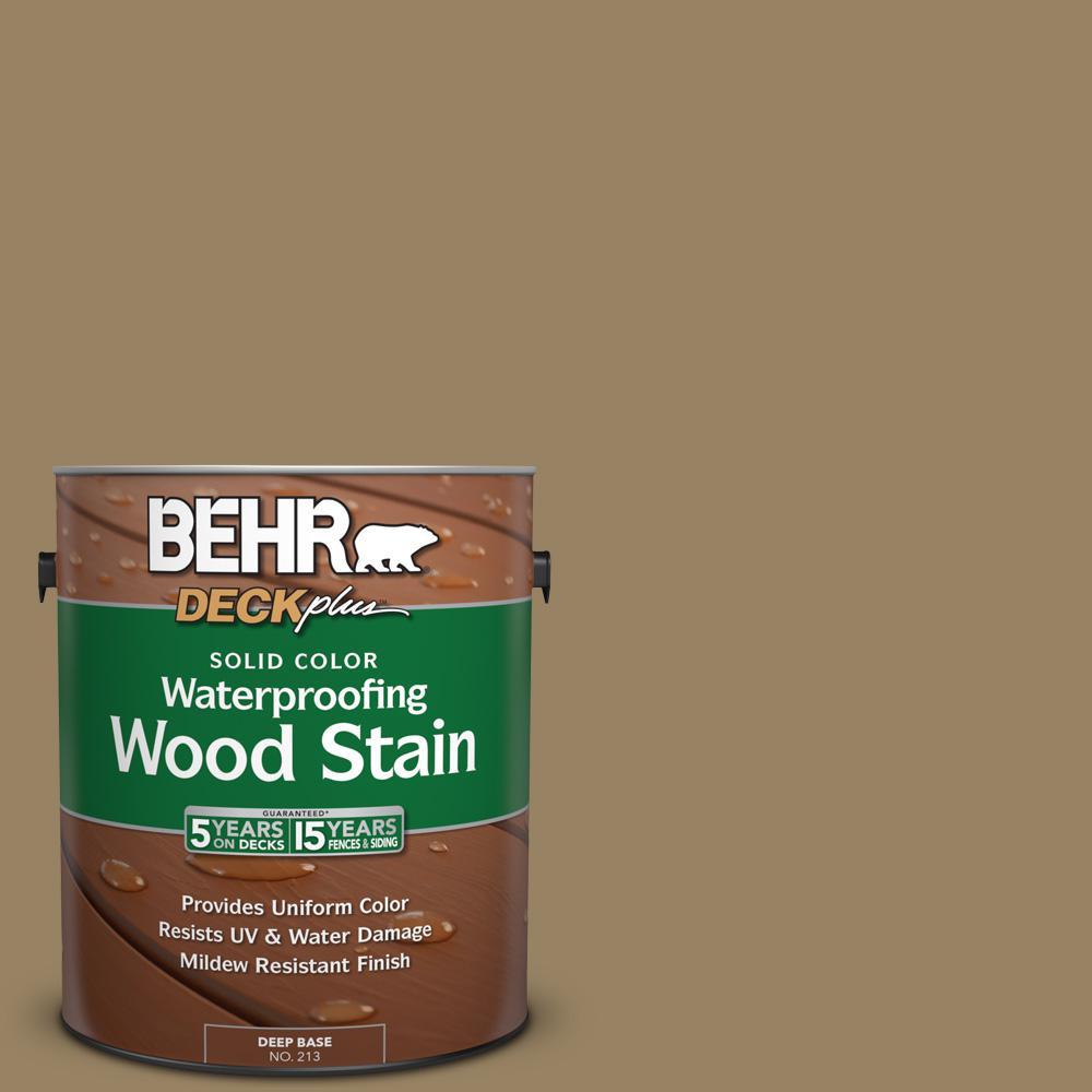 BEHR DECKplus 1 gal. #SC-121 Sandal Solid Color Waterproofing Wood Stain