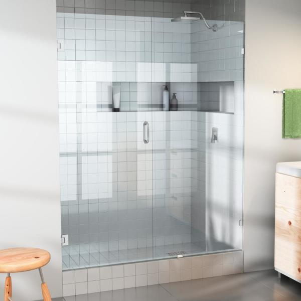 64.75 in. x 78 in. Frameless Wall Pivot/Hinged Shower Door in Chrome with Handle